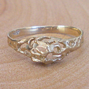 14k Solid Gold Organic Design Wedding Band Nugget Ring