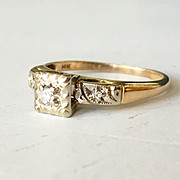 White and Yellow Gold Diamond Engagement Ring Lucky Horse Shoe Band
