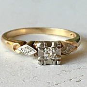 Diamond Engagement Ring 14k White Gold Vintage Cluster Band