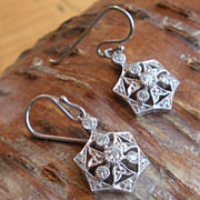 Delicate Diamond Filigree Earrings