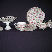 Hand painted Rose Chintz - Lefton Snack Set