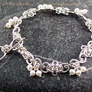 Sterling silver and pearl bracelet
