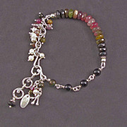 SOLD Sterling silver and tourmaline bracelet