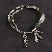Sterling, labradorite and pearl bracelet