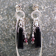 SOLD Sterling silver, black onyx, and garnet earrings