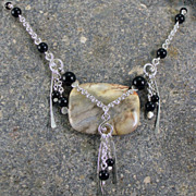 SALE Sterling silver, banded agate, and black onyx necklace
