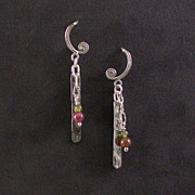 Sterling bar and crescent earrings
