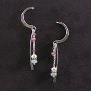 SOLD Sterling crescent, aquamarine, and pearl earrings