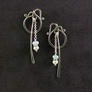 Sterling silver, pearl and aquamarine earrings