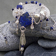 SOLD A statement piece - lapis, cultured freshwater pearls, sterling silver.