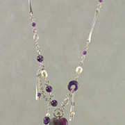SOLD Flourite heart with amethyst and cultured freshwater pearls