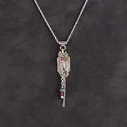 Sterling and tourmaline drop necklace