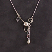 Flight of fancy sterling and pearl necklace