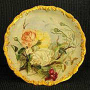 "Exquisite Signed Antique 14"" Tressemann & Vogt (T&V) Limoges Handpainted Roses Porcelain"