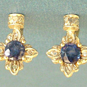 Beautiful Victorian Diamond and Sapphire 14K Yellow Gold Lever Back Pierced Earrings