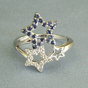 Sparkling Blue Sapphire 10K White Gold Triple Star Ring- Size 6
