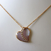 Gorgeous Signed Na Hoku 14K Rose Gold, Diamond and Mother of Pearl Heart Pendant Necklace
