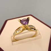 Estate Custom 14K Gold, Diamond and High Set Amethyst Ring, Size 8-3/4