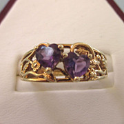 Estate 10K Floral Ring With Double Amethyst Hearts, Size 8