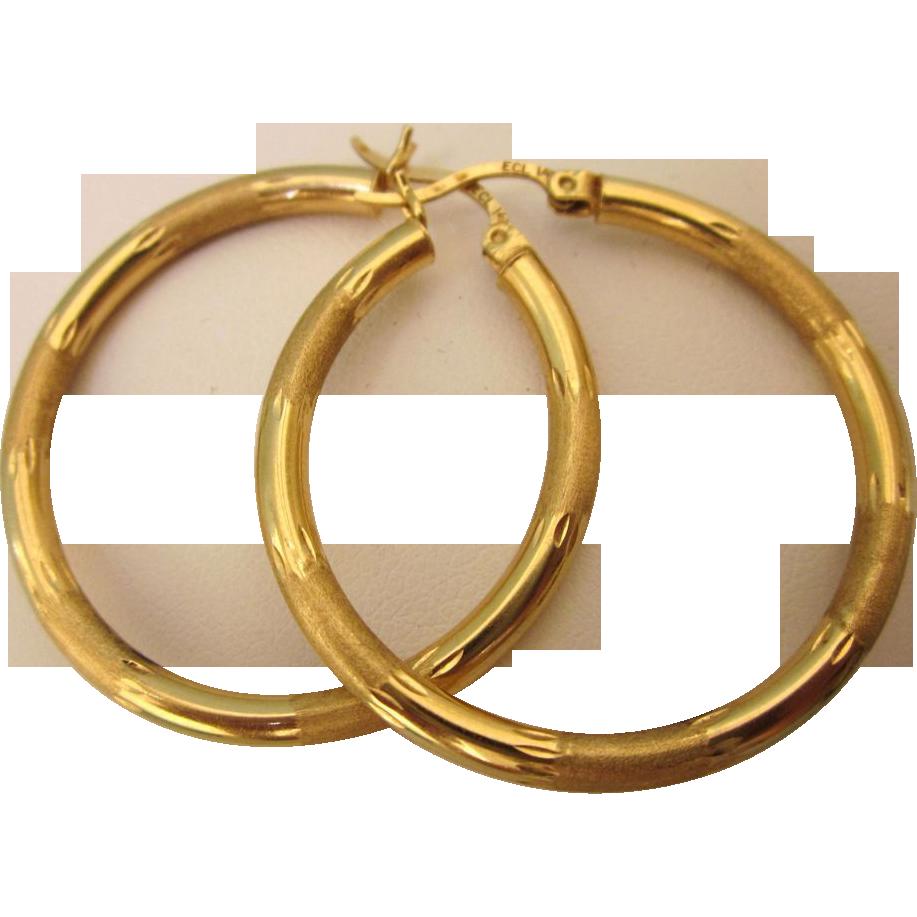 Gold Hoop Pierced Earrings