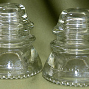 Pair of Hemingray 42 Insulators - Clear - Molds 18, 20 - 1945