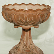 Greentown Chocolate Glass Compote - Cactus Pattern 375 - 5 1/2""