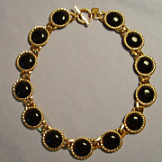 SALE Gorgeous vintage Anne Klein necklace with black cabochons & chunky gold tone chain
