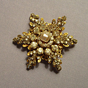 SALE Miriam Haskell Star Brooch Pin Rhinestone Baroque Signed
