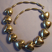Vintage Puffy Heart Necklace silverplate 18""