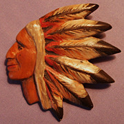 SALE Vintage Native American Indian Chief carved wood Brooch Pin