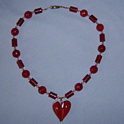 SALE Glass Heart Necklace Sterling Crystal Vintage