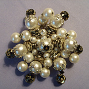 SALE Alice Caviness brooch pin DANGLES Vintage Imitation pearls black glass & Rhinestones