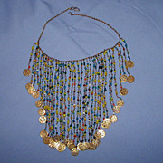 SALE Vintage BIB Colorful Bead Necklace Brass Bangles Dangles