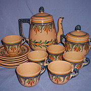 SALE Henriot Quimper Tea/Coffee Pot Set Sugar 6 Cups & Saucers French Faience Mid 20thC