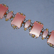 SALE Big Wide Chunky Pink Bracelet Thermoset Plastic Goldtone Metal
