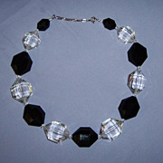 SALE Stunning Lucite Black & Clear Faceted Big Chunky Beads Necklace