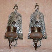 SALE Vintage Pair Electric Wall Sconces Hammered Metal Hobnail