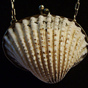 SALE Shell Purse Sterling Chain Velvet Lined Miniature for Rosary or coin