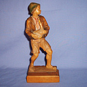 SALE Vintage Anri Woodcarving Boy with Goose Italy