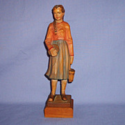 SALE Vintage Anri Woodcarving Girl with Basket & Bowl Italy