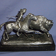 SALE Pewter &quot;BUFFALO HUNT&quot; by P. Kraczkowski marble base