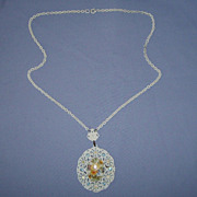 SALE Gorgeous Porcelain Rhinestone Necklace W Germany