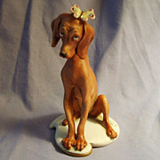 Giuseppe Cappe Dog with Butterfly Puppy Hound Porcelain Italy