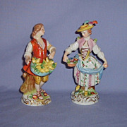 Ernst Bohne Sohne Lady Figurine Germany--Pair--Chipped Man Free