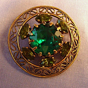 Green Glass Rhinestone Brooch W. Germany Vintage