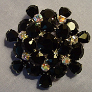 Black Glass & Clear Rhinestone Brooch  Vintage Two-tier Pin