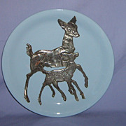 Art Deco Doe & Fawn Deer Plate Grindley England Silver Overlay