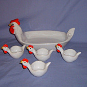 SALE Chicken Egg Cup & Tray Breakfast Set Italian Pottery Italy