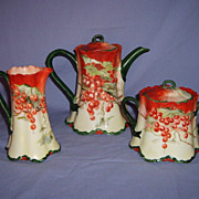 SALE Haviland Limoges Tea Set Red Currant Berries Handpainted Pot Creamer Sugar