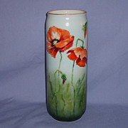 SALE Limoges Poppy Vase Porcelain PL France 1905-1930's Handpainted